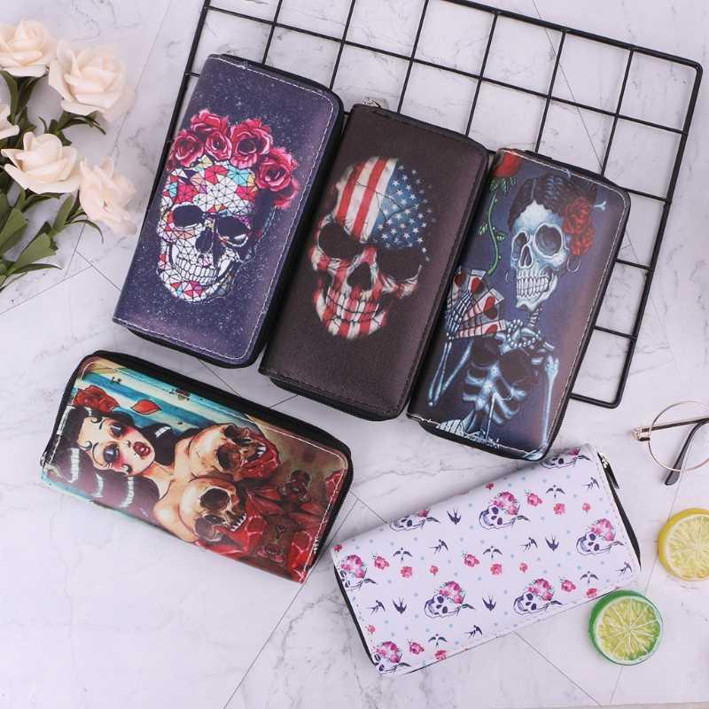 THINKTHENDO, Модный женский длинный кошелек с принтом черепа, клатч, Женский чехол для карт, держатель для монет, сумочка, сумка для телефона, новинка