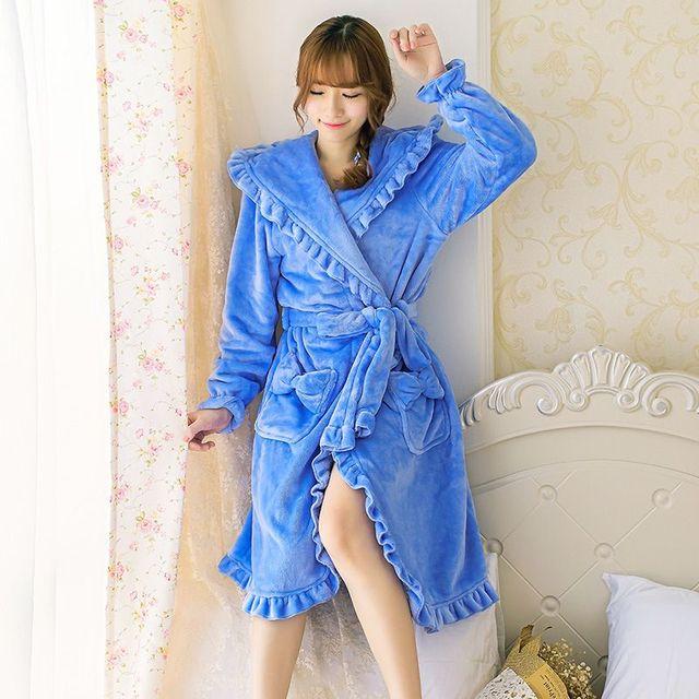 Осень Зима Женский Коралловый Флис Ночная рубашка Леди Спа Халат с капюшоном Леди длинным рукавом симпатичные пижамы Фланелевые Пижамы 102706