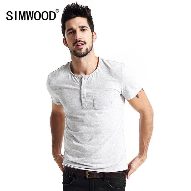 Marca 2016 Novo Verão de Algodão O-pescoço dos homens SIMWOOD TD1114 Yonger Camisetas Moda Manga Curta Roupas Casuais
