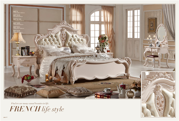 Classic European Antique Italian Bedroom Furniture Set-in Beds from