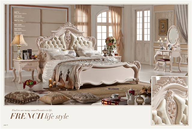 Classic European Antique Italian Bedroom Furniture Set - Classic European Antique Italian Bedroom Furniture Set-in Beds From