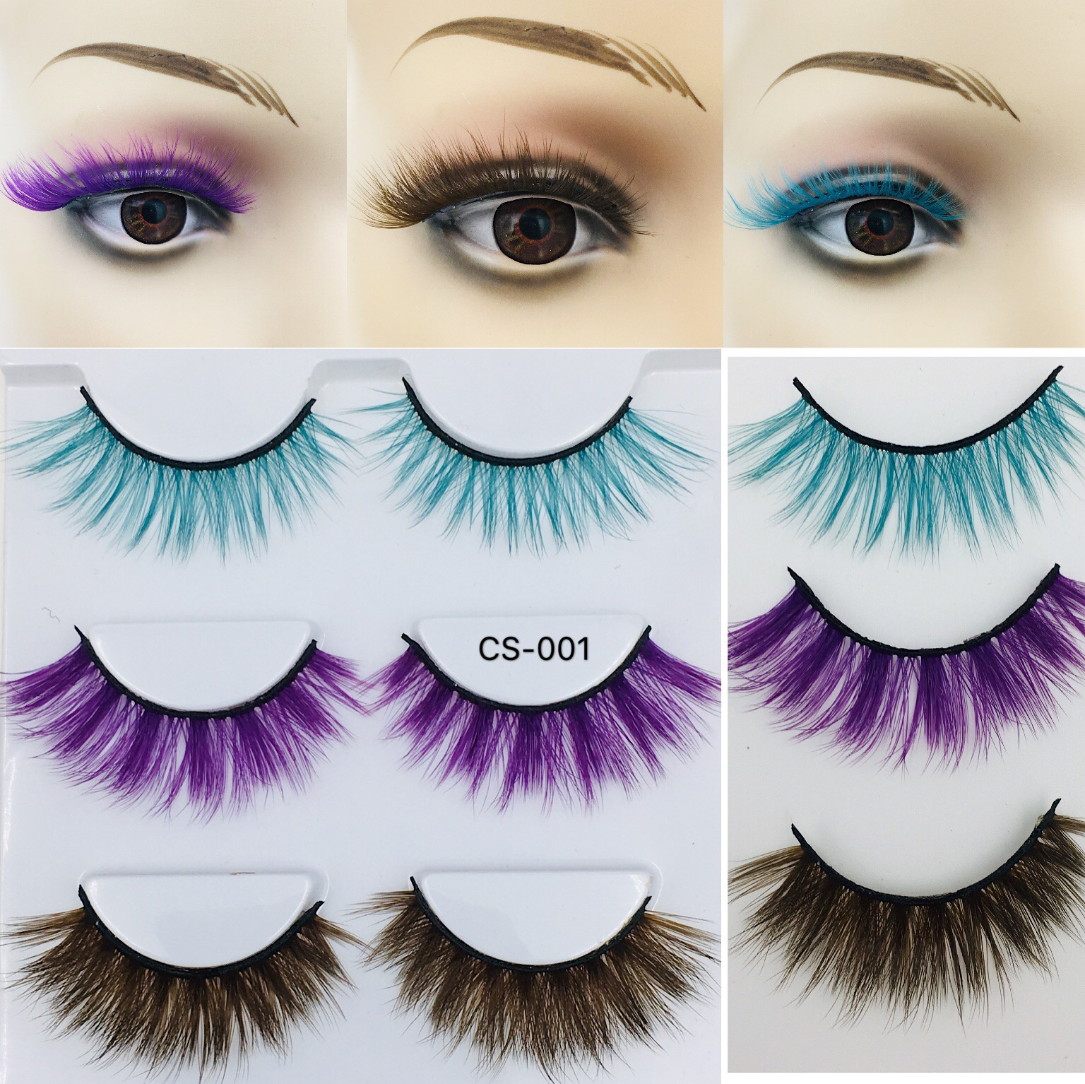 3Pairs Fashion Eye Lashes High Quality Mounted Colour False Eyelashes Individual Imitated Mink 3d