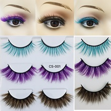 лучшая цена 3Pairs Fashion Eye Lashes High Quality Mounted Colour False Eyelashes Individual Imitated Mink 3d Lashes