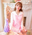 Принцесса сладкий лолита пальто Конфеты дождь Весна Колледж стиль розовый Симпатичные Сейлор воротник лоскутное шифон пальто W18