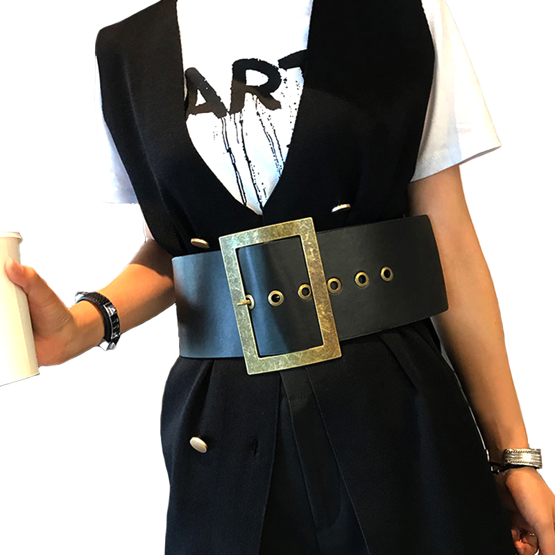 New Women Wide Belts Retro Metal Buckle Decorated Fashion -3068