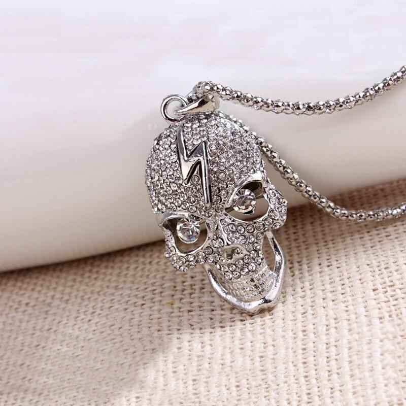 CNANIYA Jewelry store Серебряный цвет череп длинные ожерелья и кулоны steampunk crystal ювелирные изделия винтаж скелет заявление ожерелье женщин colier kolye