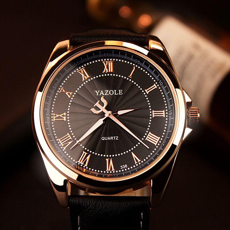 YAZOLE 336 Men Quartz Watch Top Brand Luxury Famous leather watch Men Clock Wrist Watch business