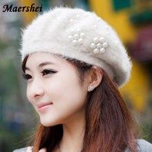 MAERSHEI Moda inverno boina 2018 chapéu novo das senhoras versão Coreana da  maré pérola boina de 8e1511e99cd