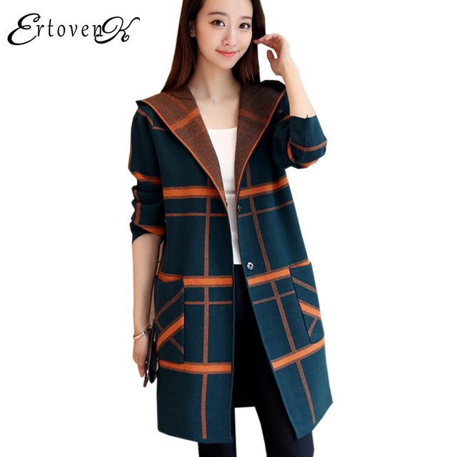 43e76776f19 Long Section Knitted Cardigan Hooded Sweater Coat Women Autumn Jacket 2017  Korean Top Clothes Trend Outerwear abrigos mujerLH264