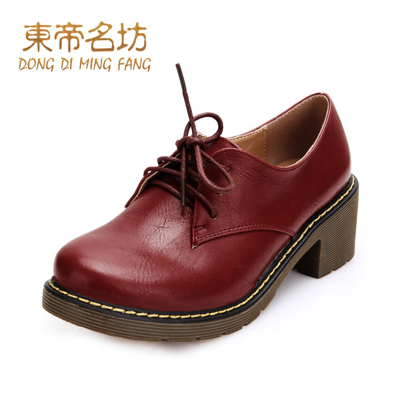ФОТО 2017 New Arrival Basic Square Heel Round Toe Lace-up Rubber Sole Spring/autumn Classics Style Cross-tied Opening 47001