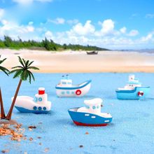 Yacht Mediterranean Sea boat Model Figurine Aquarium Ornament Craft Decor Miniature Home Fairy Garden Decoration DIY Accessories(China)