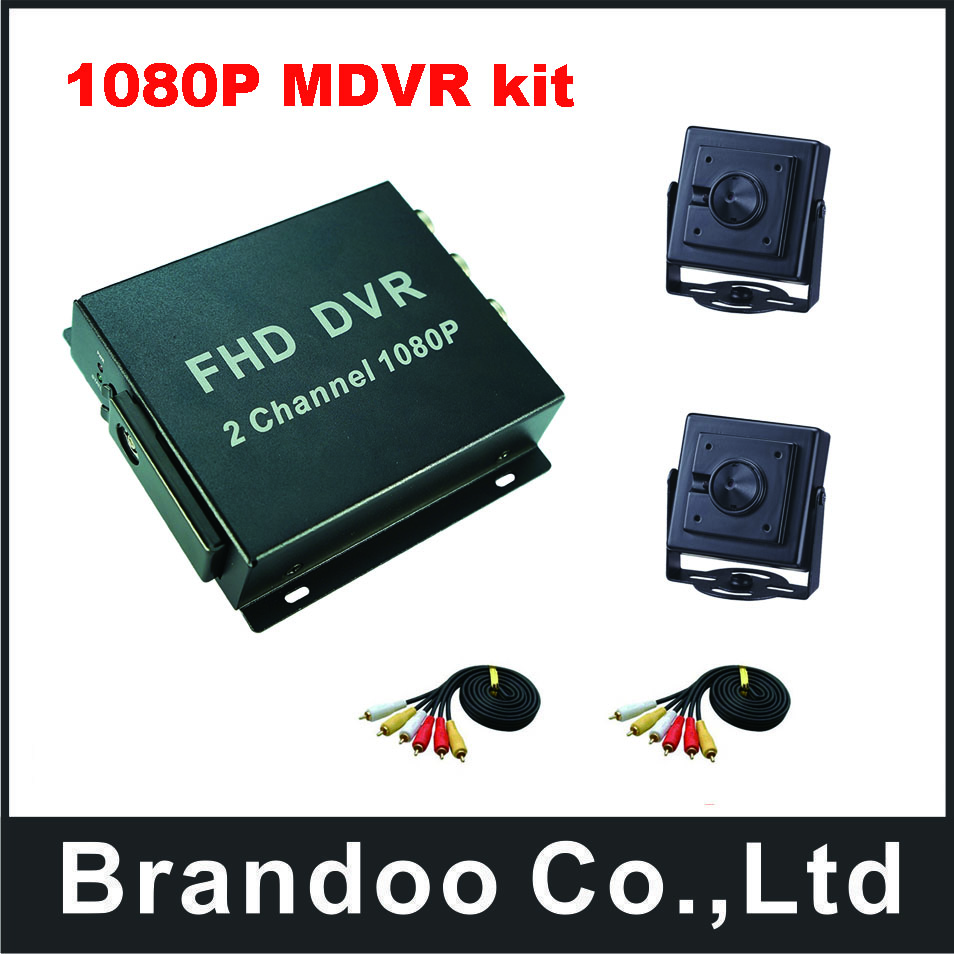 2CH 1080P full HD vehicle DVR kit for car use,free shipping to Russia