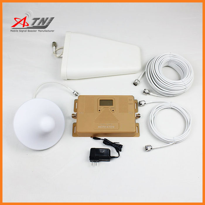 Dual Band signal booster 3G 4G 800 2100mhz signal repeater Cellular Phone Amplifier with log periodic