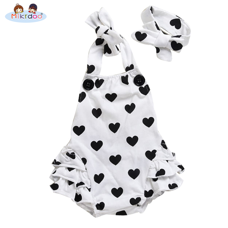Baby girl clothes sleeveless strap romper kids jumpsuit infant outfit cotton suit heart dot clothing set children costume sale