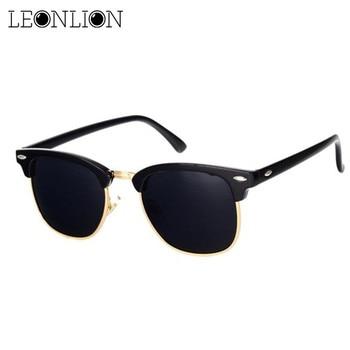 LeonLion Polarized Semi-Rimless Sunglasses Women/Men Polarized UV400 Classic Brand Designer Retro Oc