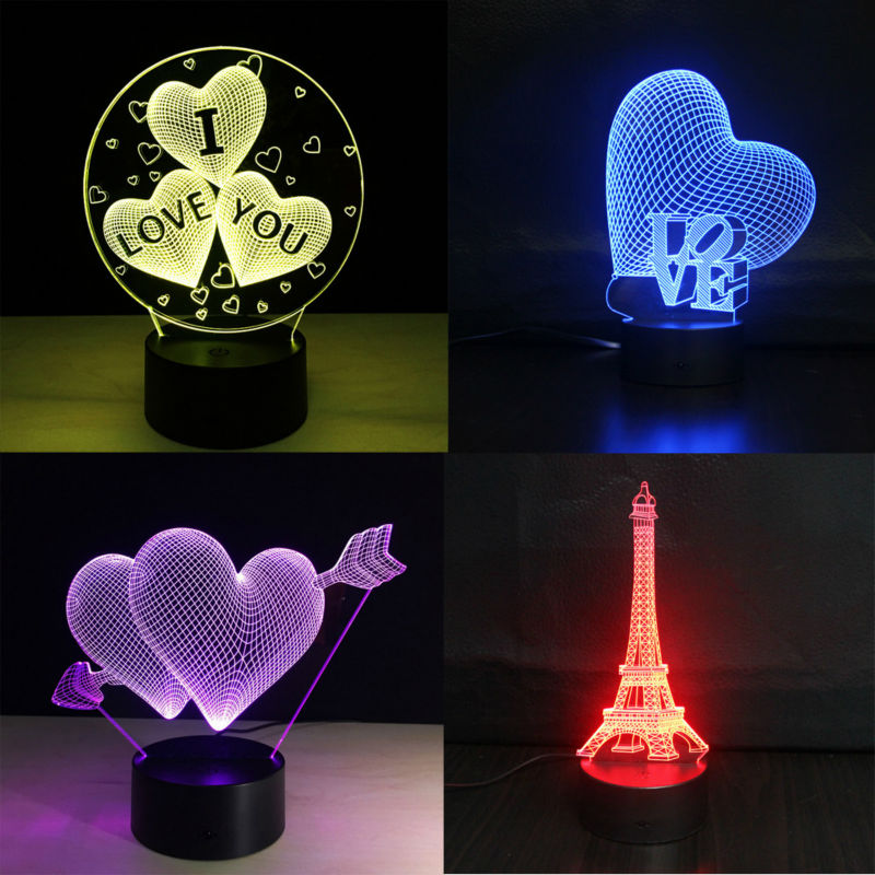 3D Lamp RGB LED Night Light Touch Colorful Luminary Illusion Light Fixtures Novelty USB Table Desk 3D Lamp for Valentine's Day free shipping 1piece new arrive marvel anti hero deadpool figure light handmade 3d bulbing illusion lamp led mood light for kid
