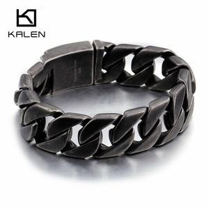 Мужские матовые браслеты-цепочки Kalen, черные браслеты-цепочки из нержавеющей стали, ювелирные изделия