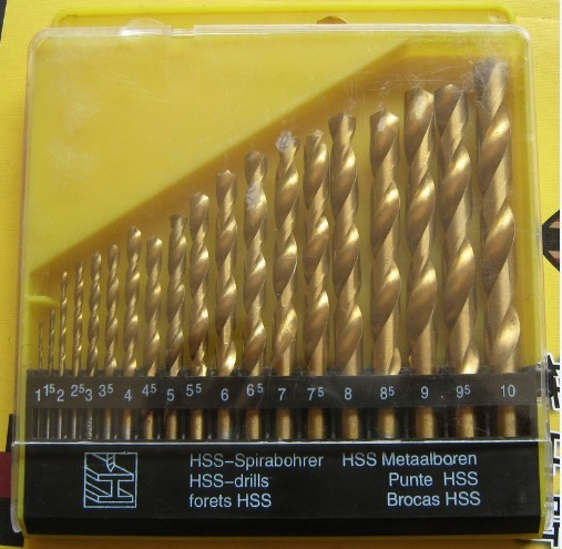 19pcs 1-10mm HSS-TiN HSS Titanium coated twist drill bit set DIN 338, Hole Boring Bits, Drilling tool kit, Free shipping 13pcs lot hss high speed steel drill bit set 1 4 hex shank 1 5 6 5mm free shipping hss twist drill bits set for power tools