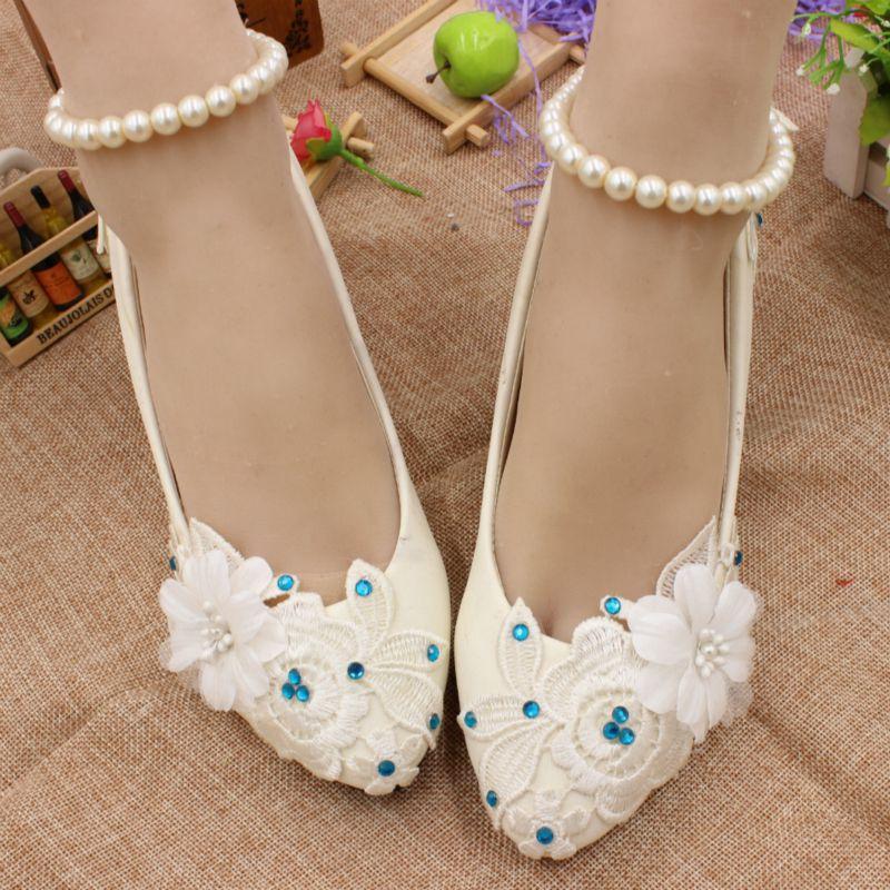 Blanc dentelle chaussures de mariage pour la mariée HS032 bleu strass dentelle fleur cheville perles bretelles lady femme nuptiale de mariage pompes chaussures