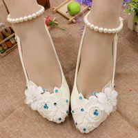 Laço branco sapatos de casamento para a noiva HS032 azul strass flor do laço beading correias do tornozelo da senhora bombas de casamento sapato de noiva do sexo feminino