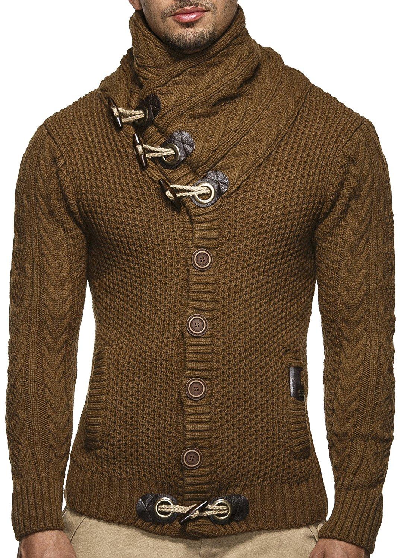 Cardigan Slim Horns Buckle Thick Hedging Turtleneck Men'S Sweater 5