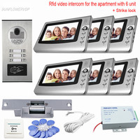 6 Units Video Doorphone Panel 7 Wired Video Intercom With Electronic Lock Video On Door Rfid