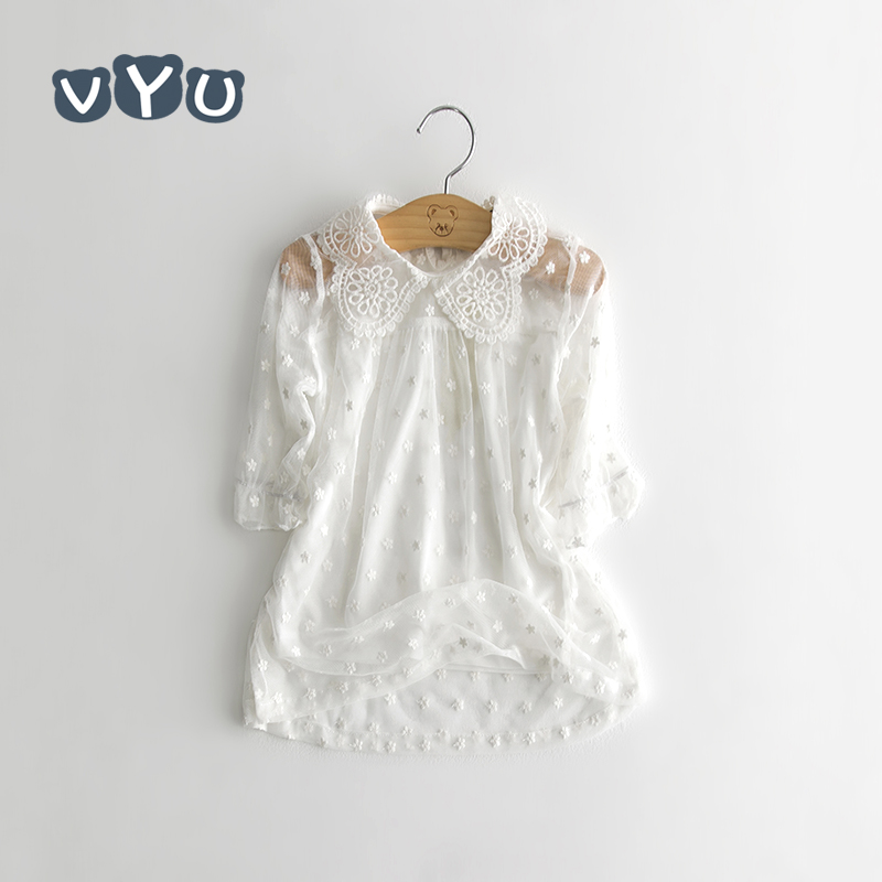 Lace Sleeved Kids T-shirt Cotton Thin Girls Flower Blouse 2018 Summer Cute School Girls Shirts Fashions Kids Clothes White Tops