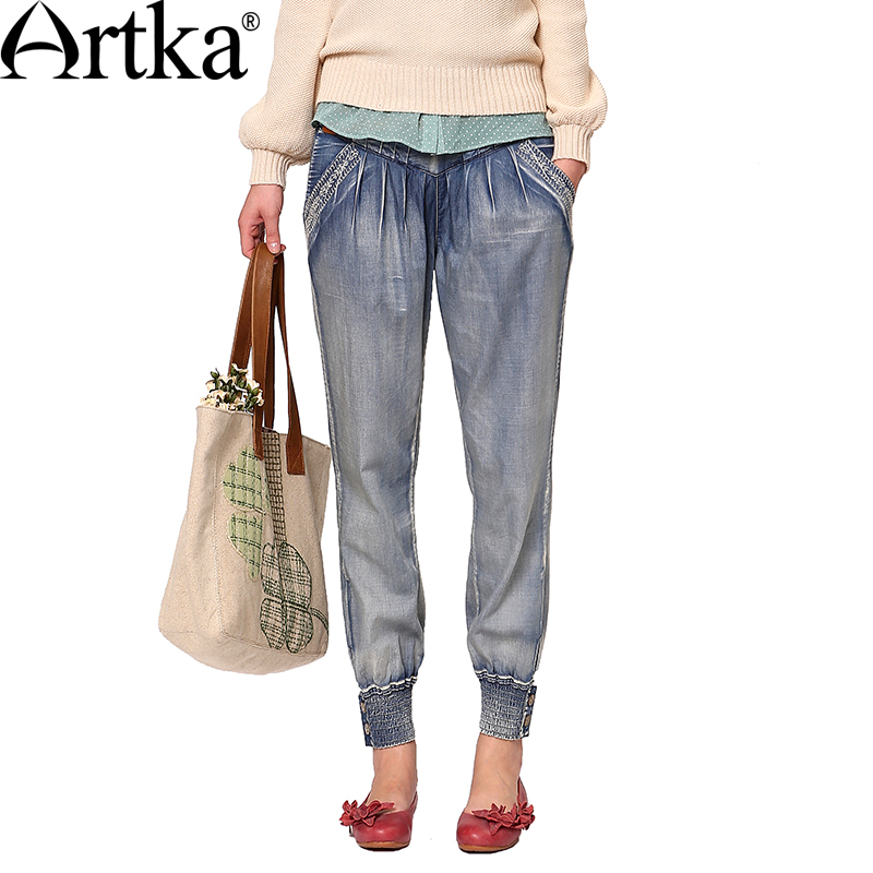 Artka Women s Spring New Arrival Delicate Embroidery Stretch Waist Elastic Leg Openings Loose Casual Harem