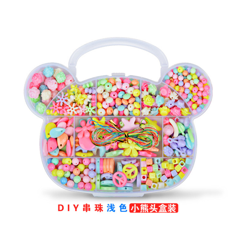Diy Bear Shape Candy Colors Children's Puzzle Bracelet Geometric Toys For Girls Amblyopia Wear Beads Kids Educational Gifts