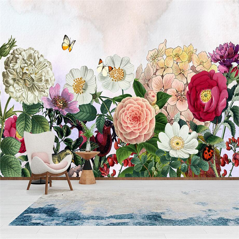 Europe Murals 3D Hand Painted Flower Wallpapers for Walls 3D Green Leaf Wall Covering Living Room Home Decor Restaurant Mural custom wallpaper for walls 3 d effect flower murals simple hand painted desktops wall mural blue flower wallpapers living room