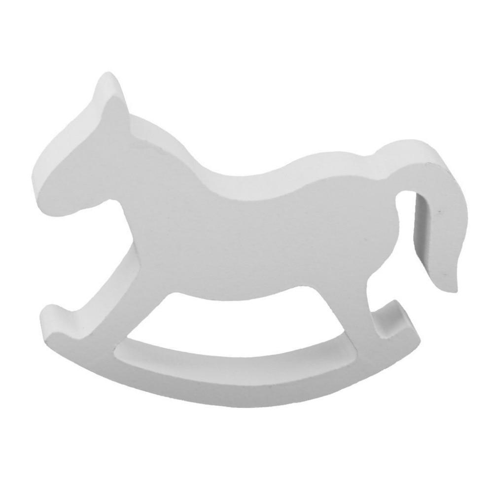 أبيض خشبي صغير هزاز الحصان الرصيد ديكور المنزل للأطفال اللعب الخشب نحت الهدايا غرفة الأطفال الديكور الحرف الحصان