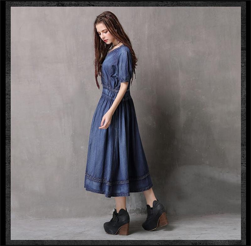 Adjustable Waist Summer Dresses 2019 Vintage Denim Women V-Neck Dress Hollow out  Lantern Sleeve Swing Hem Vestidos (13)