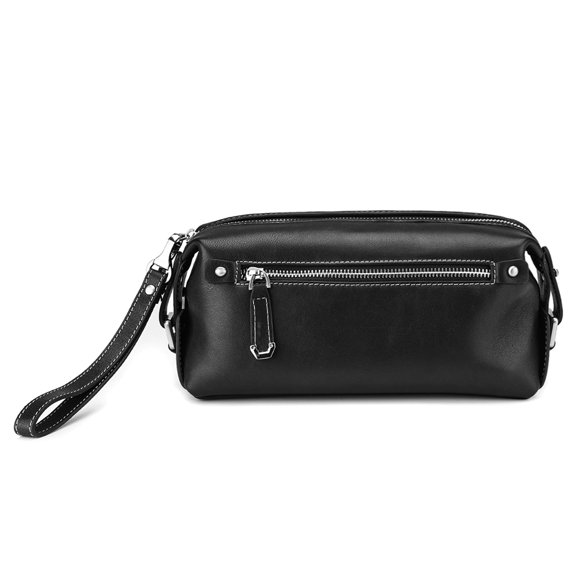 HT Genuine Leather Day Clutches Men Handbags Black Handy Bags Zipper Male Purses Cow Leather Square Top Handle Bags Zipper-in Top-Handle Bags from Luggage & Bags    3