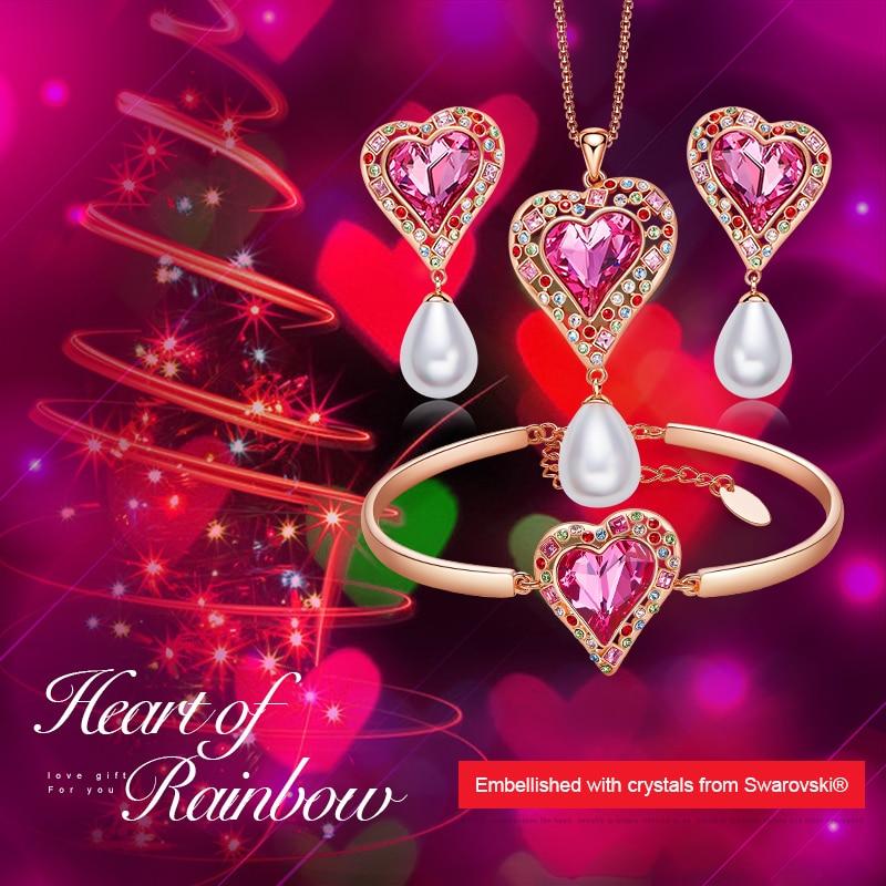 CDE mujer conjuntos de joyas de oro adornado con cristales de Swarovski collar pendientes conjunto de pulsera corazón Arco Iris joyería-in Conjuntos de joyería from Joyería y accesorios    2