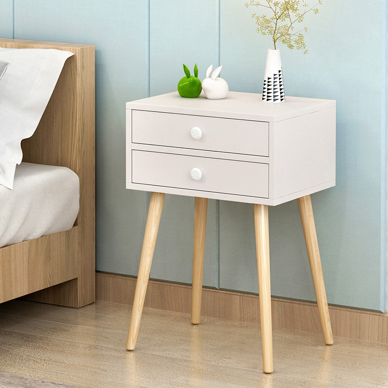15% Modern High Foot Nightstands Home Simple Creative Bedroom Side Cabinet Wooden Storage Cabinets Bedside Lockers 3 Colors willow wood bamboo rattan straw bedside cabinet lockers storage cabinets debris cabinet page 4