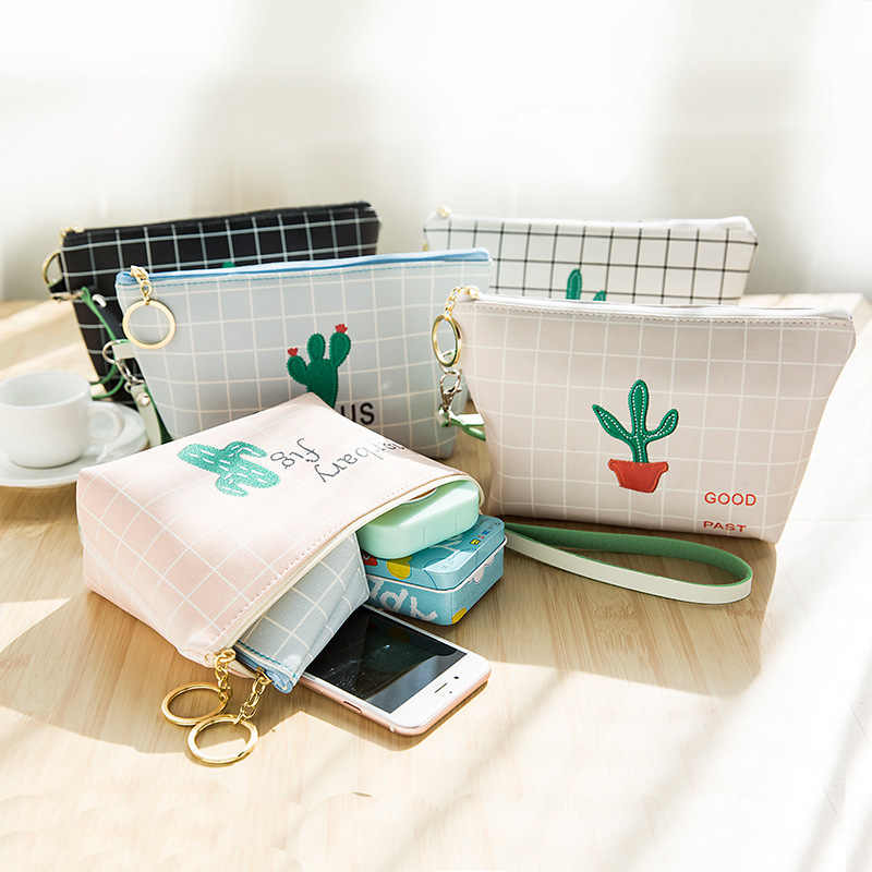 Cor Bonito Cacto 5 Compõem Caso Cosméticos Bolsa de Maquiagem Zíper Bolsa Das Mulheres Sacos de Viagem Organizador Bolsa De Armazenamento saco de Lavagem de Higiene saco