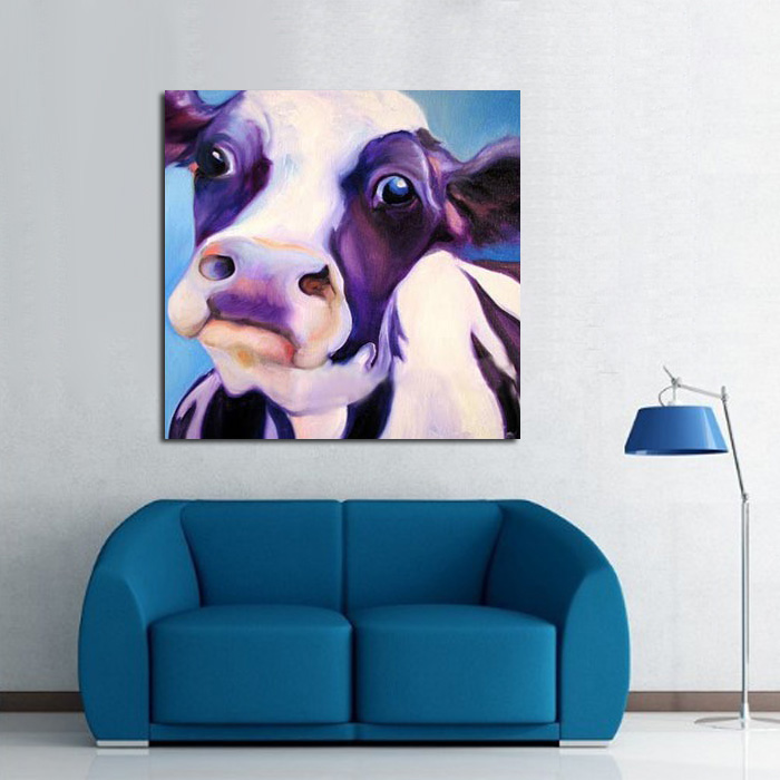 Cow Wall Art aliexpress : buy big eyes cute silly cow wall picture canvas
