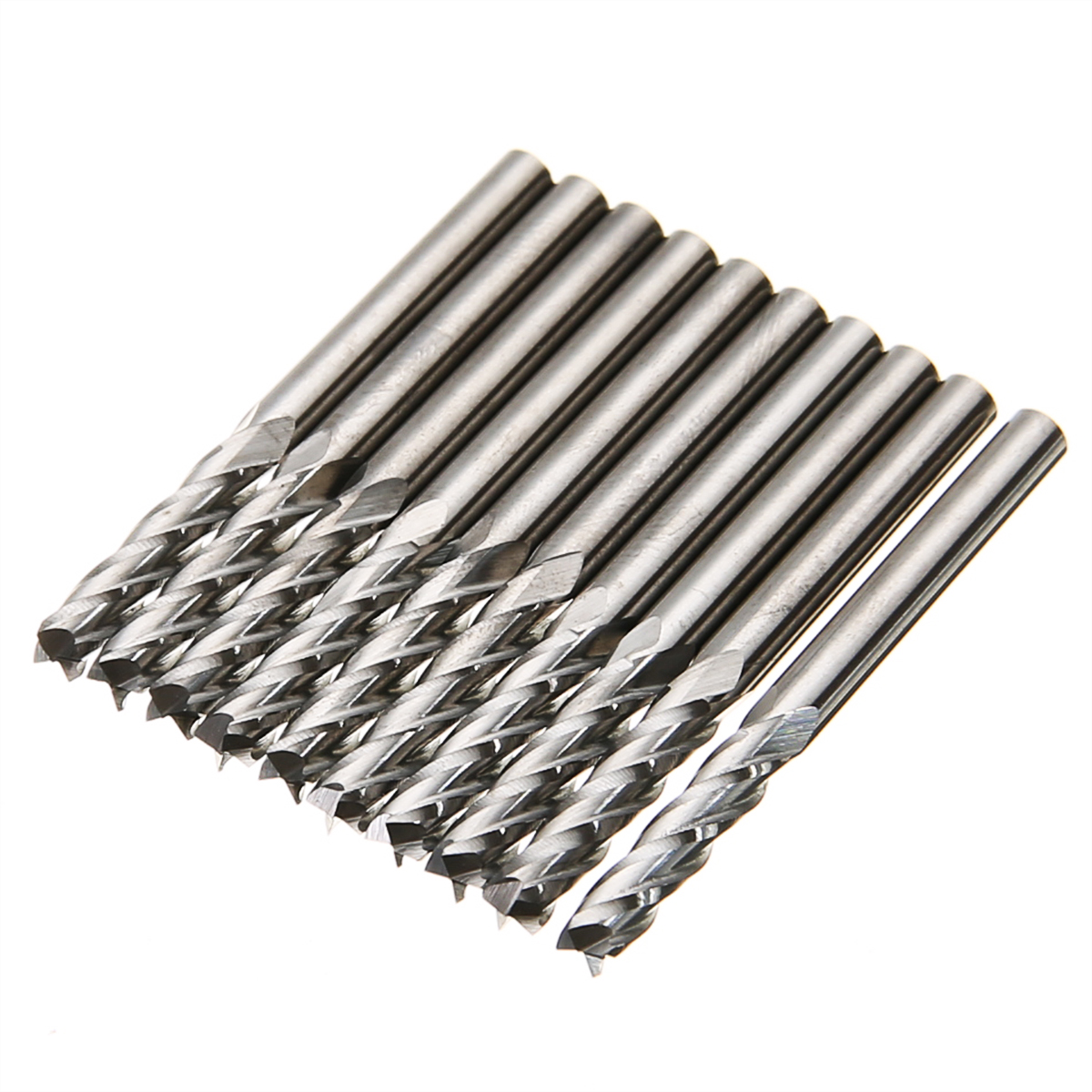 цена на 10pcs/set Carbide Spiral End Mill Cutter 4 Flutes CNC Milling Cutter Tool 1/8'' Shank 15mm For Power Tool