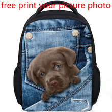 picture photo custom 3D effects Primary school bag customized shoulder Campus Cowboy Leprechaun pocket free design backpack