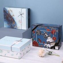 Бизнес-коробка, бумажная Подарочная коробка, выпускной, Рождество, Золотая фольга, волнистая, сделай сам, картонная коробка, подарок на день матери отца, шоколадная коробка