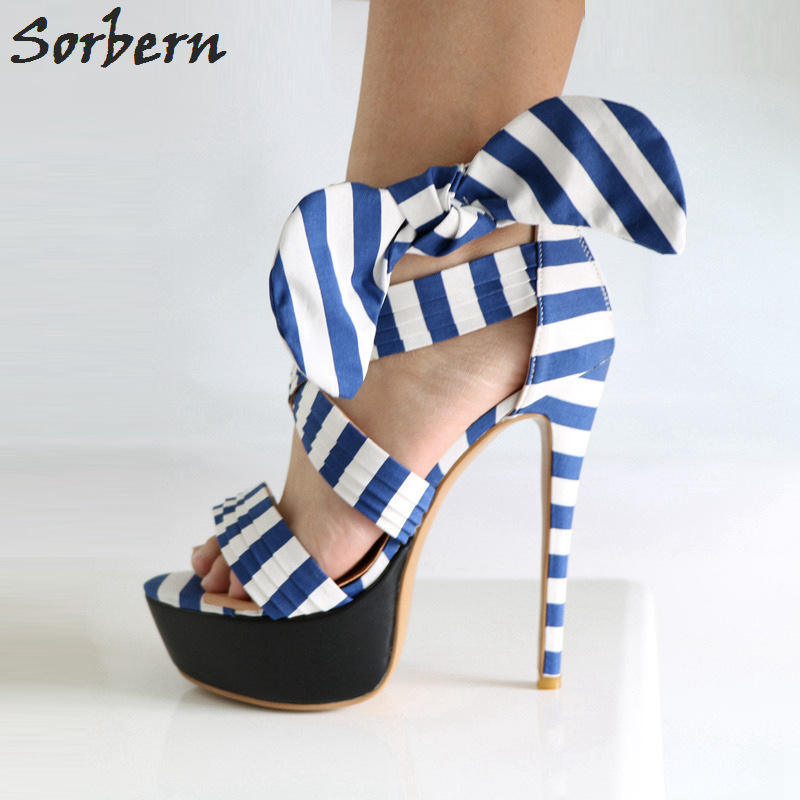Sorbern Blue And White Sandals For Women Bow Ankle Strap Sandals Summer Shoes High Heel Platform Women Dress Shoes New Arrival mystery mmp 65dt2