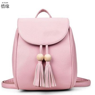 2017 new female package women backpack Round beads Tassel wild ladies backpacks for college students bookbag travel bags pink