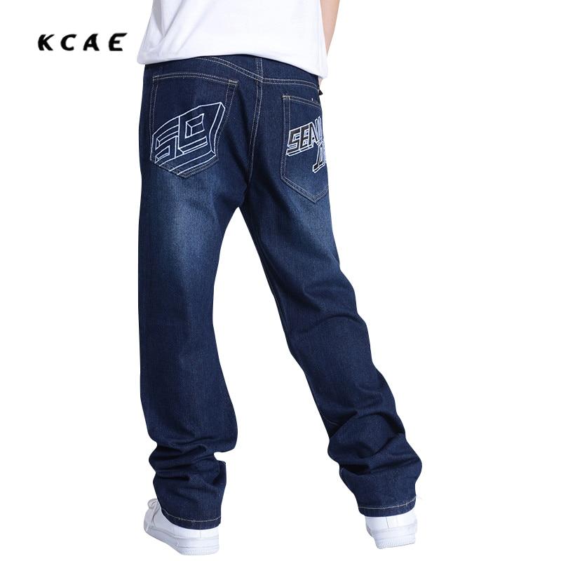 Hip Hop Jeans For Men 2016 New Fashion Blue Baggy Jeans Skateboarder Denim Pants Free Shipping 30-46  hip hop jeans for men 2017 new fashion light blue baggy jeans skateboarder denim pants free shipping