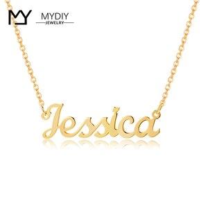 Настоящее 14K золото имя кулон индивидуальное имя ожерелья для женщин Hanmade персонализированные ювелирные изделия подарок