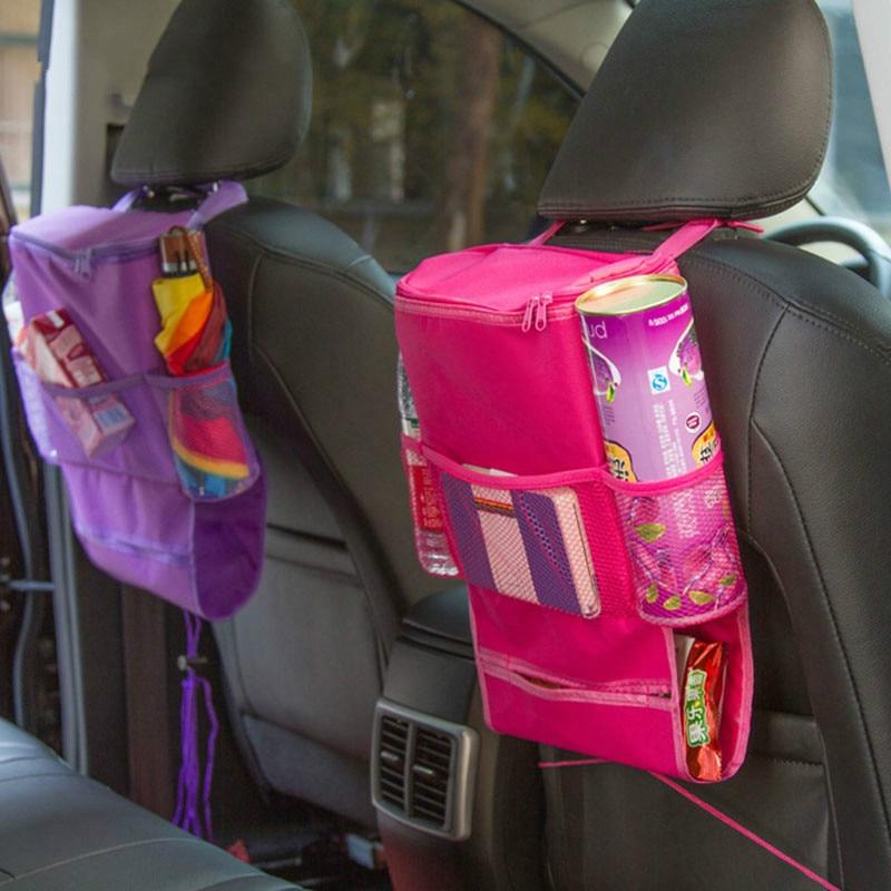 Car Backseat Organizer Storage Bag Cooler Bag Mommy Diaper Bag Capacity Storage Pouch Auto Wrap Trash Net Tissue Holder