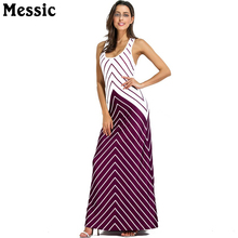 Messic Striped Spliced Crossing Back Step Dress Vest Robe 2018 New womens  Sleeveless Stripe Dresses Scoop · 3 Colors Available 774e817ded57