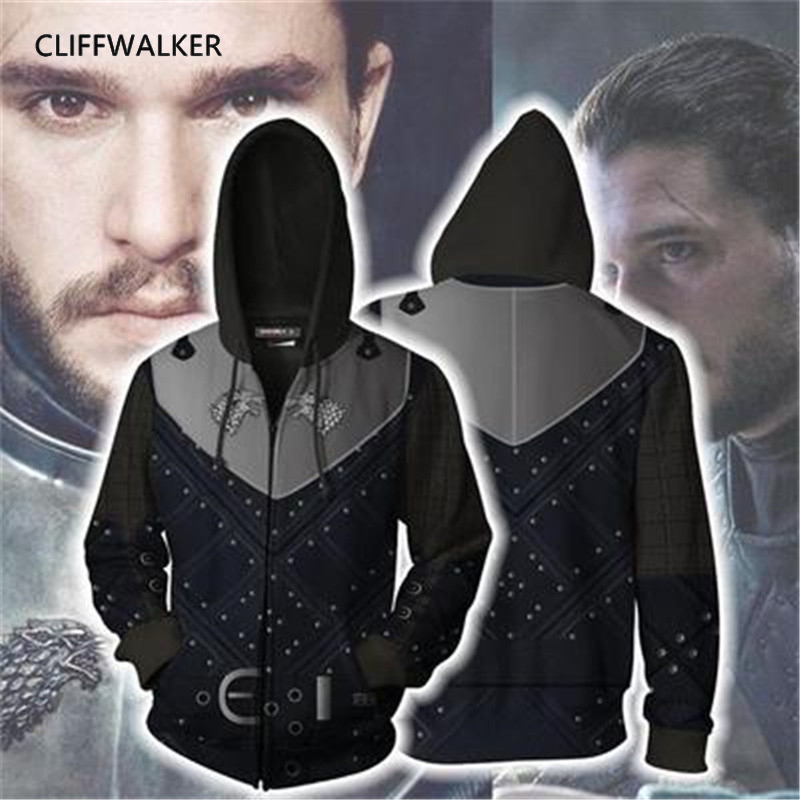 Dropshipping Game of Thrones Cosplay 3D Print Jon Snow Zippers Hooded Sport Hip hop Hoodies Pullover Pocket Lace Loose Tops