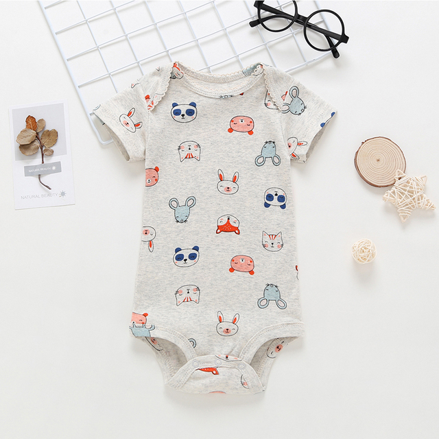 short sleeve bodysuit for baby girl clothes 2019 summer newborn boy set new born costume print body suit clothing 5pcs/lot 5