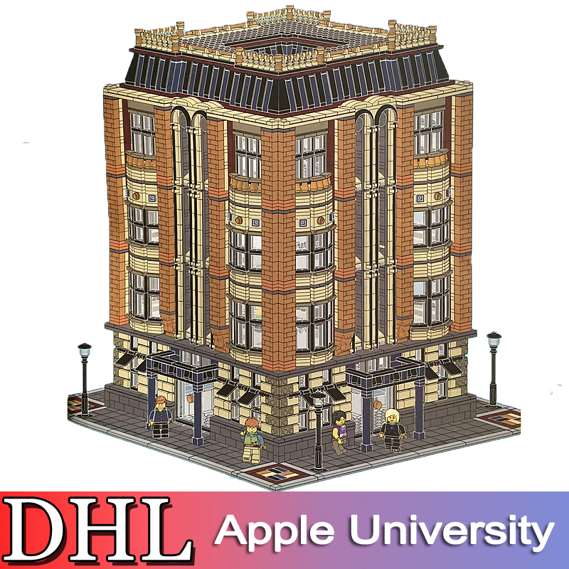 2018 New 7968Pcs City Street Model Building Kit Blocks Bricks Figureds Apple University Toys For Children Compatible With Gift hot sembo block compatible lepin architecture city building blocks led light bricks apple flagship store toys for children gift