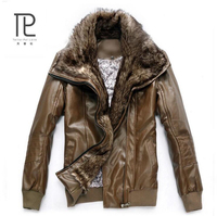 Winter Brand PU Leather Jacket Men Fashion Stand Collar motorcycle leather jacket Bomber Jackets Faux Leather Mens Jackets #D2